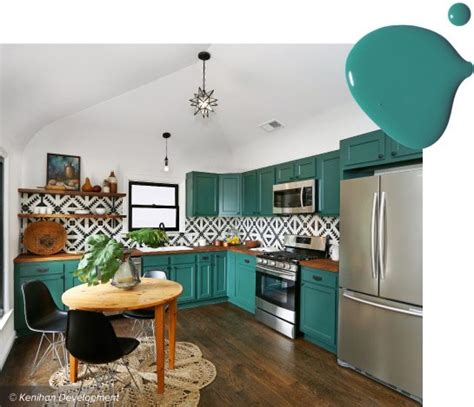 turquoise and green kitchen 20 trending kitchen cabinet paint colors 6398