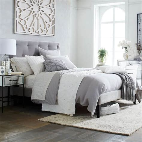 bedroom with grey upholstered headboard 8 chic tufted headboard design ideas for modern bedroom