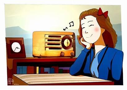 Radio Clipart Listening Listen Cartoon Drawing Library