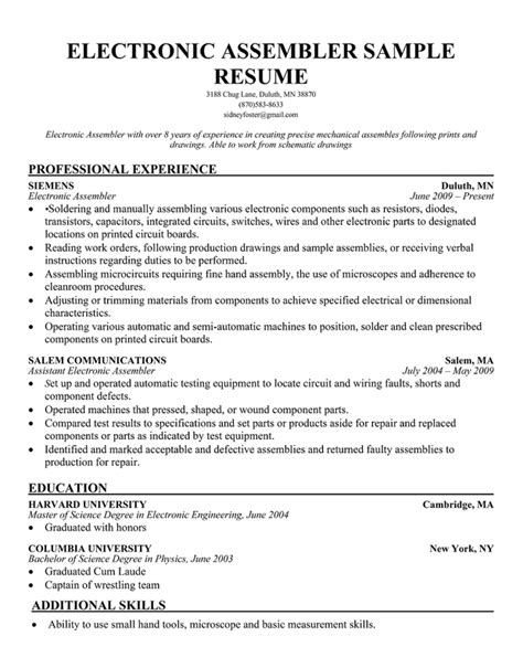 Assembly Line Resume Sample  Sample Resume. Microsoft Resume Template. Attention To Detail Skills Resume. Resume Vitae. Sample Resume For Software Engineer With One Year Experience