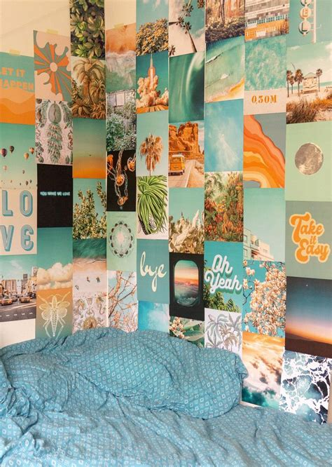 summer blue collage kit   wall collage decor wall