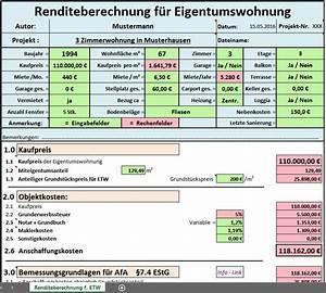 Kaufpreis Eigentumswohnung Berechnen : excel vorlage rendite berechnung f r eigentumswohnung ~ Themetempest.com Abrechnung