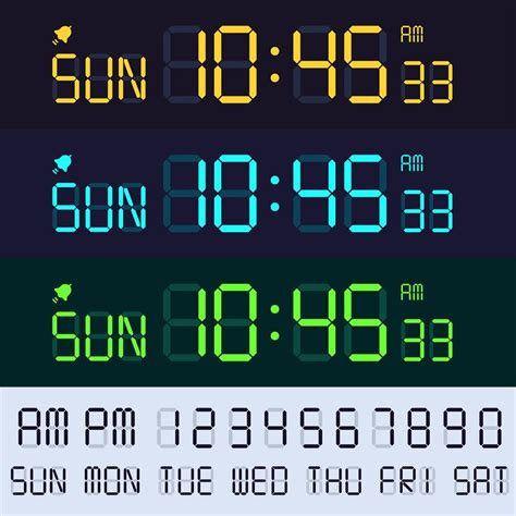 Search for other fancy and digital fonts. Alarm clock lcd display font. Electronic clocks numbers, digital scree By Tartila ...