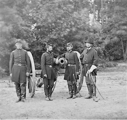 Union Artillery Horse Cannon Posing Officers Portrait