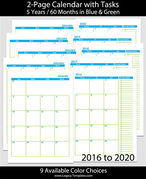 months page calendar legacy templates