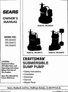 Craftsman 390304552 User Manual Sump Pump Manuals And