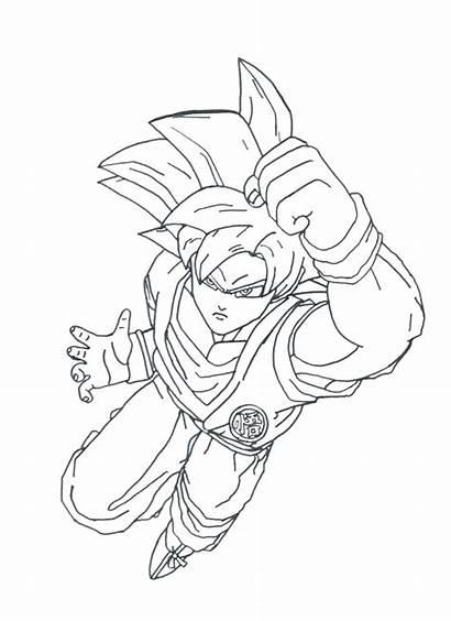 Goku Saiyan Super God Coloring Deviantart Pages