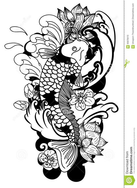 black  white drawing koi carp japanese tattoo style
