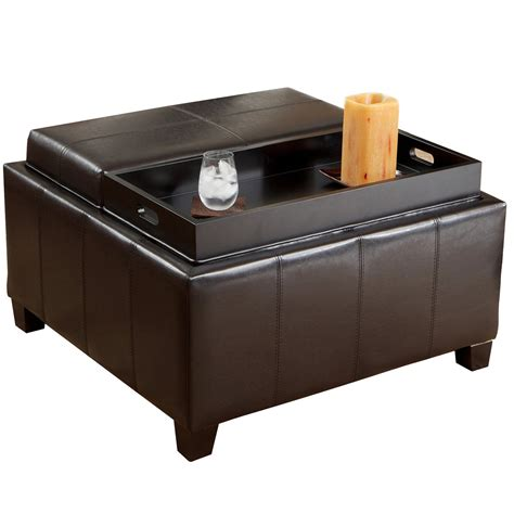 leather ottoman with storage and tray small black leather ottoman coffe table with double tray