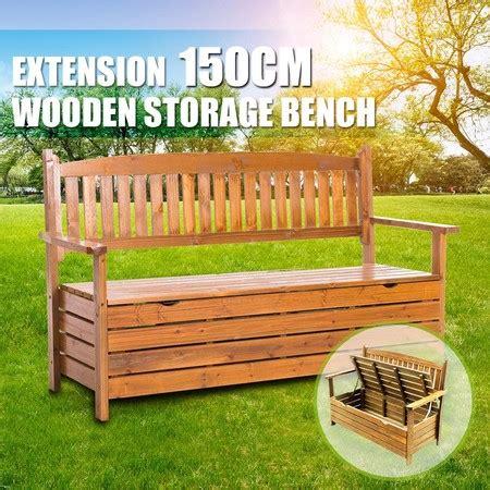 wooden garden bench patio storage timber seat outdoor