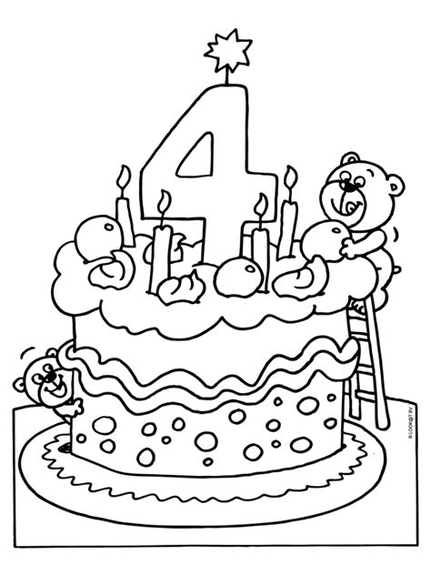 Kleurplaten Meisjes 4 Jaar by Kleurplaat Verjaardagstaart 4 Jaar Kleurplaten Nl