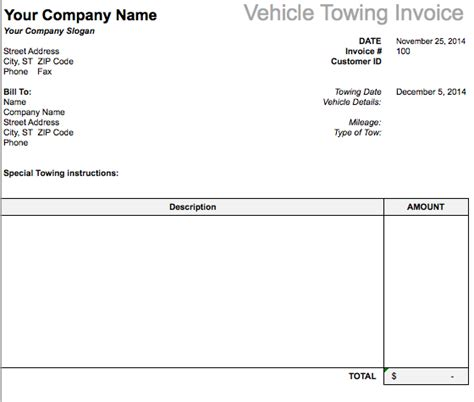 vehicle towing invoice template  invoice templates