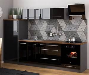 Küche Schwarz Hochglanz : k chenzeile k che 280cm lava schwarz hochglanz neu ~ Michelbontemps.com Haus und Dekorationen