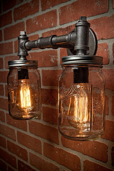 mason jar vanity sconce light fixture industrial