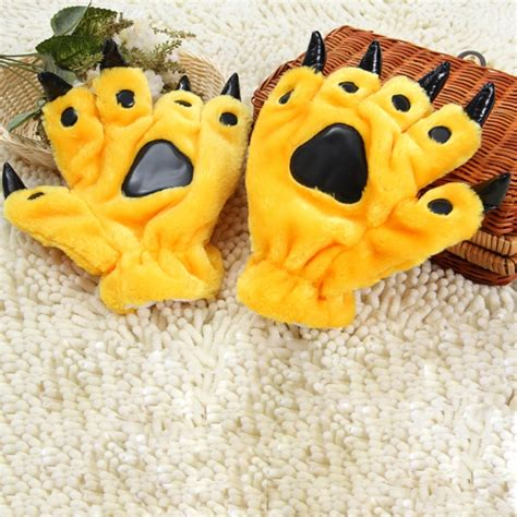 yellow soft christmas gift one pair gift dinosaur claw winter warm gloves yellow alexnld