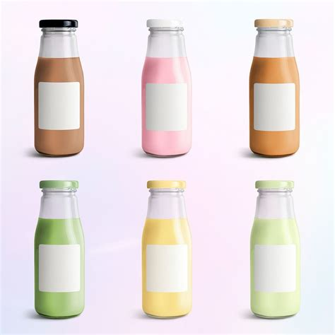 The tea bottles mockup can be useful for promoters, designers and for the development of a marketing strategy of your product. Download premium psd of Colorful milk tea in glass bottle ...