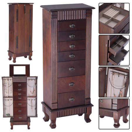 Armoire Jewelry Chest by Costway Jewelry Cabinet Armoire Box Storage Chest Stand