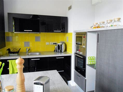 deco cuisine noir et gris d 233 co cuisine jaune et gris