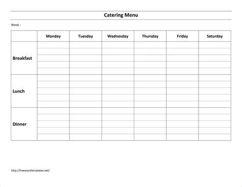 Weekly Menu Template 7 Weekly Menu Template Procedure Template Sle