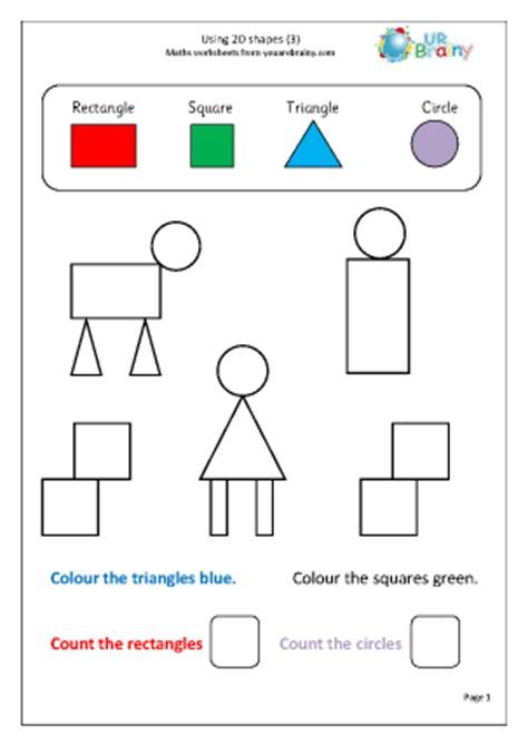 year 1 maths worksheets 2d shapes using 2d shape 3 shape and measures maths worksheets for