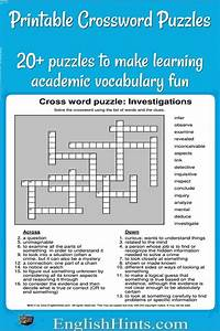20  Printable Crossword Puzzles  Make Learning Vocabulary Fun