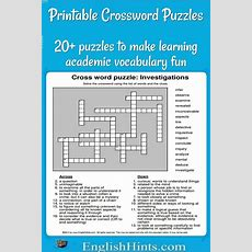 20+ Printable Crossword Puzzles Make Learning Vocabulary Fun