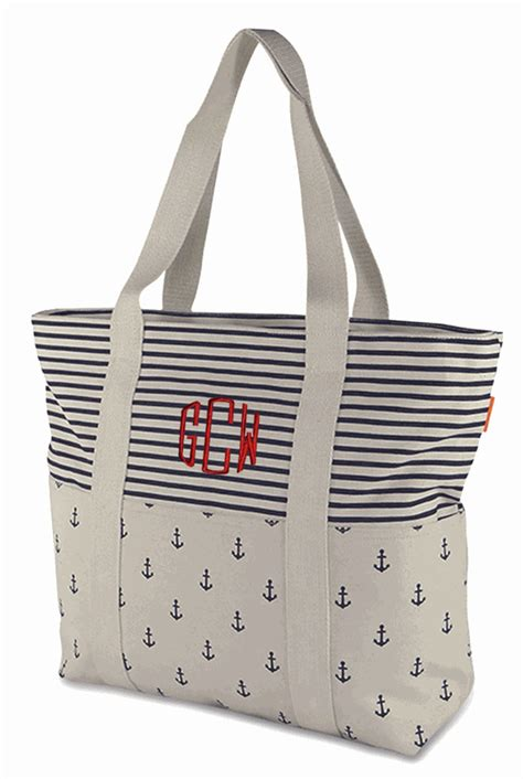 Boat Anchor Bag by Striped Anchor Canvas Boat Totes Monogram