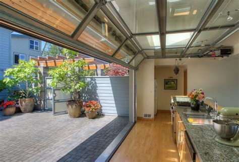 glass patio garage doors living room eclectic with painted