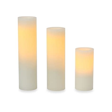 gold and cream pillar candles candle impressions 174 assorted slim flameless wax pillar candles 3 pack bed bath beyond