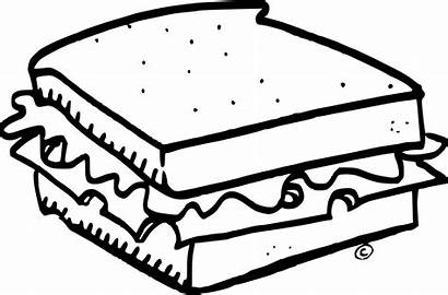 Sandwich Clipart Cheese Coloring Grilled Pages Drawing