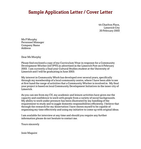free application letters