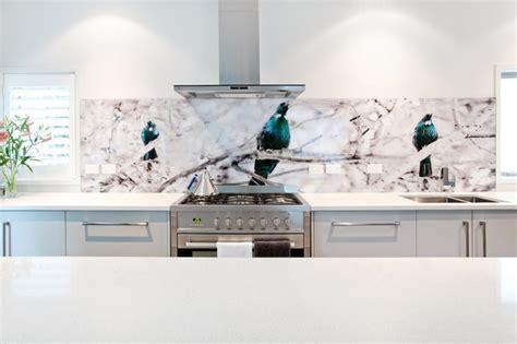 designer bathroom fixtures tui bird printed image on glass kitchen splashback