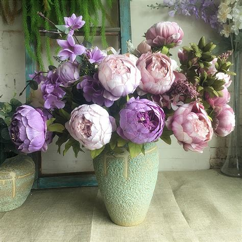 wholesale simulation peony bunch artificial flowers for