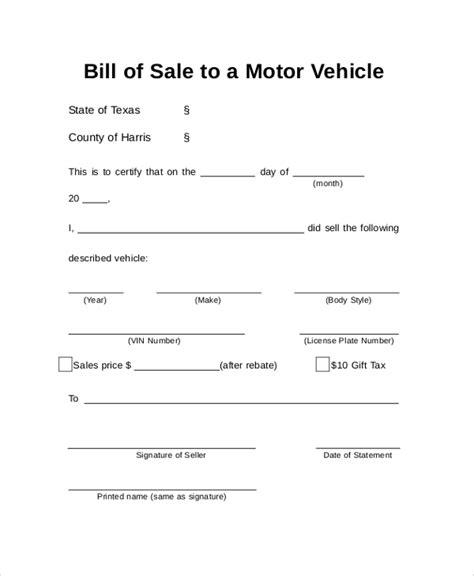 example of bill of sale sample auto bill of sale 8 examples in pdf word