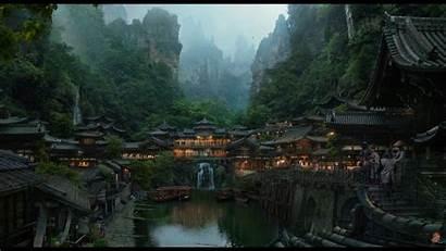 Village Mountain Japanese Fantasy Painting Landscape Mountains