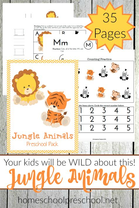 free jungle animals preschool learning pack 35 pages 676 | 1aff 1