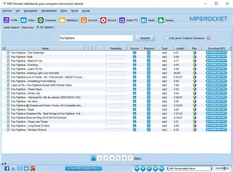 Streaming and downloading music for free. MP3 Rocket 7.4.1 - Download for PC Free