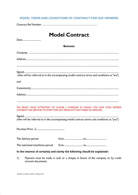 model terms  conditions  contract  ggf members