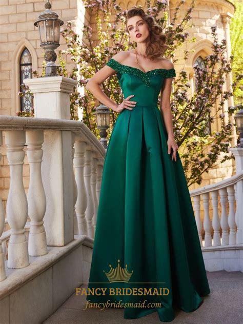 emerald green   shoulder satin   floor length prom dress fancy bridesmaid dresses