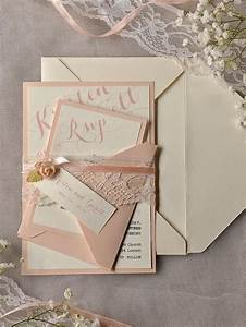 custom listing 20 ivory peach wedding invitation With lace belly band for wedding invitations