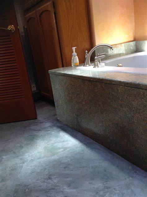 bathroom remodel concrete flooring   budget  creates    kind natural stone surface