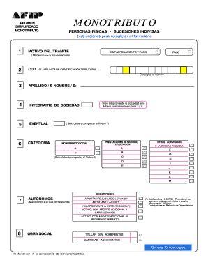 Fillable Online Form AFIP DGI 158/F y 152 Monotributo