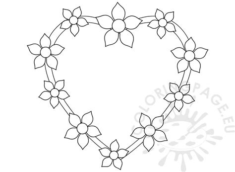 heart  flowers design template coloring page