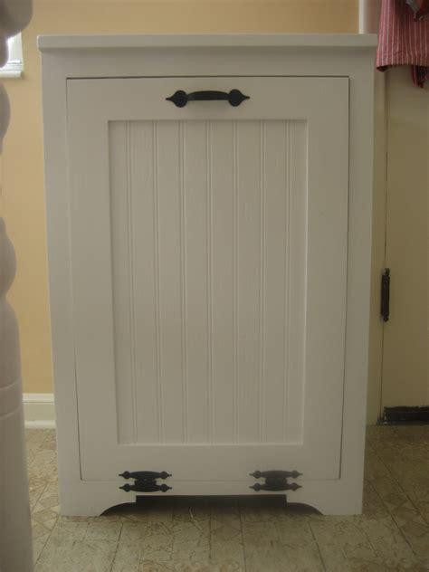 garbage can cabinet white tilt out wood trash can cabinet diy projects