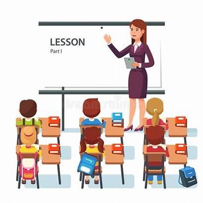 Teacher Classroom Modern Students Lesson Vector Illustration