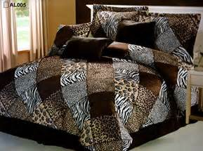 7 pieces multi animal print comforter set king size bedding brown black white zebra leopard