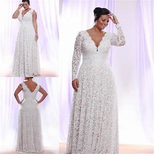 plus size white lace wedding dress 2016 with long sleeves With dhgate wedding dresses plus size