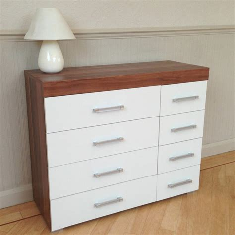 Bedroom Drawers White by Wide Chest Of 4 4 Drawers In White Walnut Bedroom