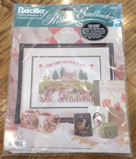 bucilla counted cross stitch ribbon embroidery makes our house a home kit ebay