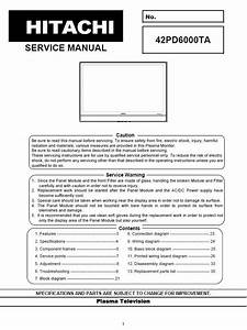 Hitachi 42pd6000ta Plasma Tv Service Repair Manual